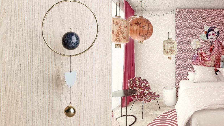 Inspiratiebeelden Japan hout en roze hotelkamer